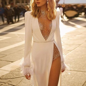 Wholesale High Slit Deep V Neck Studded Embellished Evening Prom women dresses sexy
