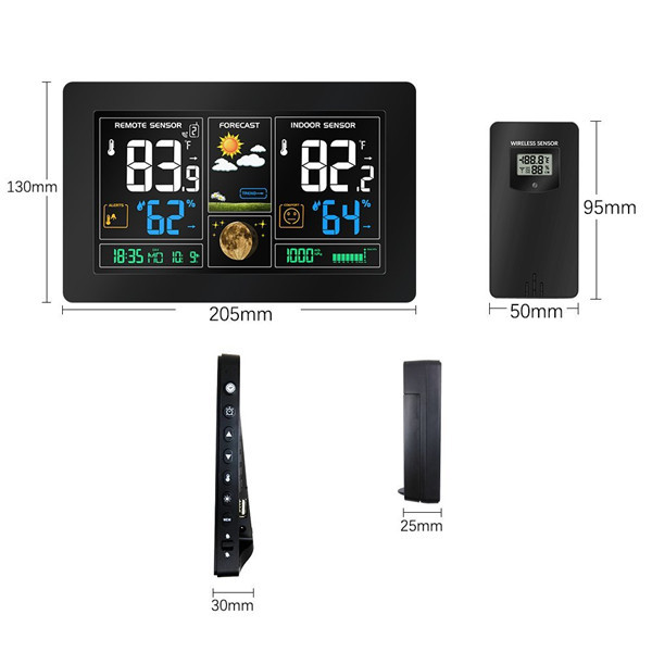 Wireless digital automatic radio control Weather Forecast Station PROTMEX PT3378 with hygrometer thermometer Sensor