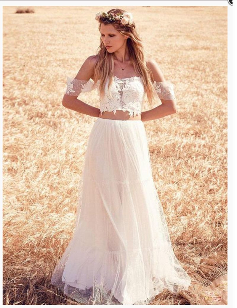 free shipping Lace Beach Wedding Dress 2 Pieces Off The Shoulder Elegant Wedding Gowns  Simple Elegant Bridal Gown