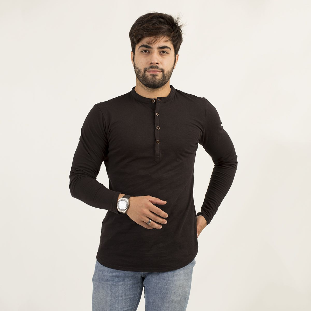 Full sleeves Black Plain Kurti Tshirt