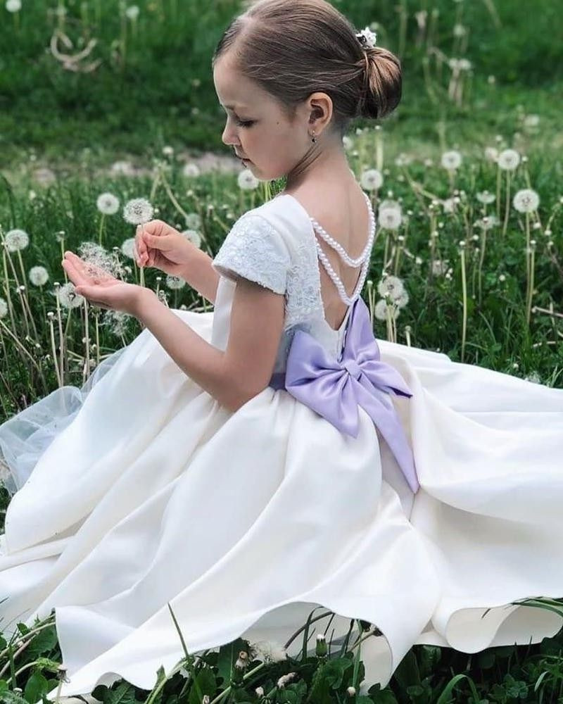 White Satin Baby Girl Dress With Long Train And Big Bow Flower Girl Dress