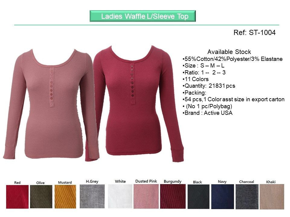 Stock - Ladies Waffle Long Sleeve Top