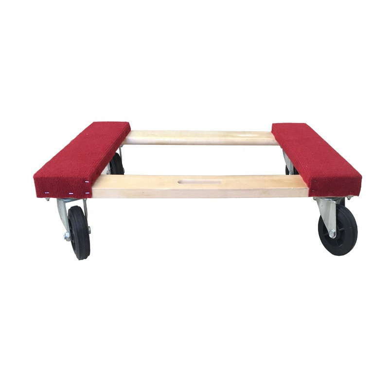 1000lb Capacity Red Carpet Ends Hardwood Frame China Manufacturing Factory Price Furniture Moving Dolly