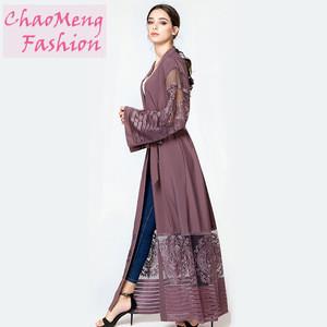 1546# Singapore long lace flower sleeve belted elegant summer open abaya Muslim islamic clothing modest fashion for women