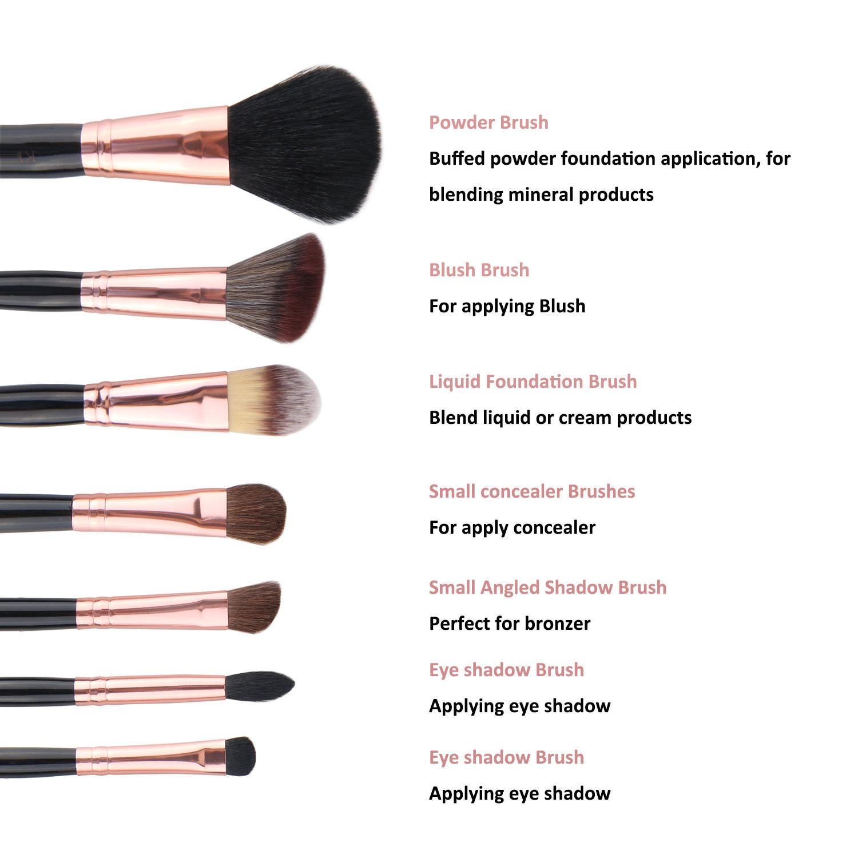 7 PCS/Set Rose Gold Makeup Brush Set Cosmetics Beauty Makeup Tools Professional Make up Brush Natural Hair and Synthetic Hair