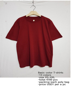Cheap stock lot sale colored t-shirts 13colors size XS~XXL from South korea