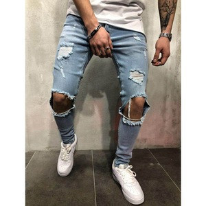 Europe and the United States skinny pants jeans men Trendy knee hole biker jeans low cheap price man jeans Denim