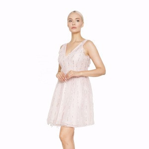 Ladies Ostrich Bead Sequin Sleeveless A Line Evening Feather Cocktail Dress