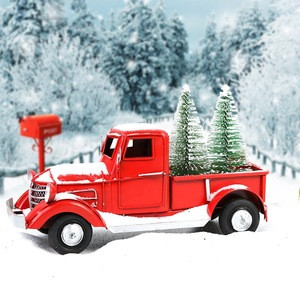 Metal Handmade Crafts Vintage Red Christmas Truck Models With Xmas Trees for Home Decoration Birthday Gift Kids Toy
