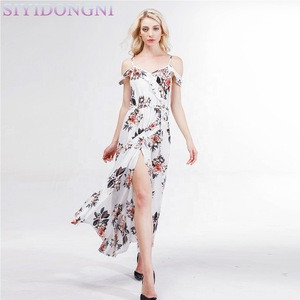 New Arrival Summer Ladies Flower Print Long Dress For Vacation