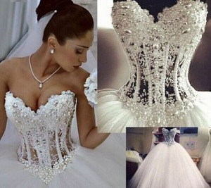Princess Sweetheart Wedding Dresses Sheer Luxury Beading Tulle A-line Ball Wedding Gowns
