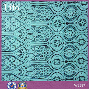 Rayon cotton lace wholesale Turkey lace blue color grey fabric