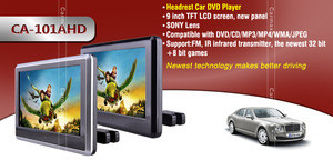 """Tablet Style 10"""" headrest dvd player touch screen car dvd player with reversing camera"""