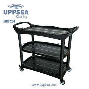 UPPSEA Commercial Executive Black Utility Cart Plastic Service Trolley