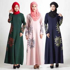Women stunning hemp muslim dress hot sell women flower abaya kaftan islamic clothing