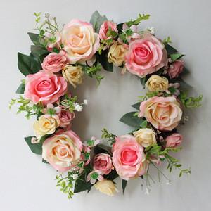 Yiyun Front Door Decoration Artificial Fower Rose Flower Garland Wreath For Christmas Decor Wedding Decoration Wreaths