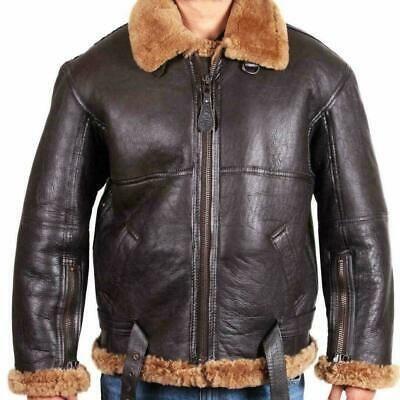 Aviator Men RAF B3 Flying Bomber Fur Shearling Sheepskin Leather Jacket For Men