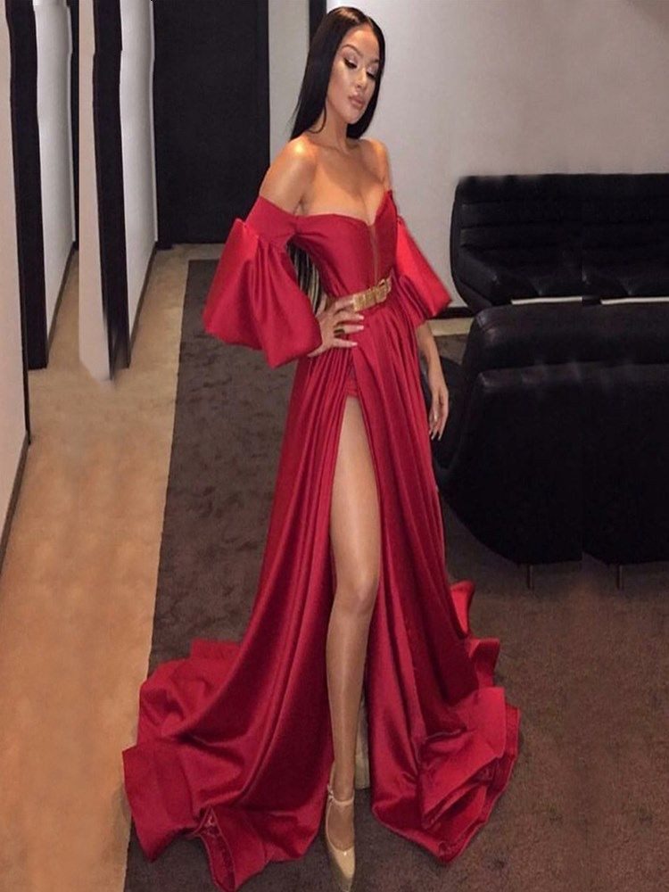 Free Shipping Sweetheart Sexy Red Shiny Soft Free Shipping Satin Evening Dress Lattern Sleeves High Slit Formal Party Gown Belt robe de soiree