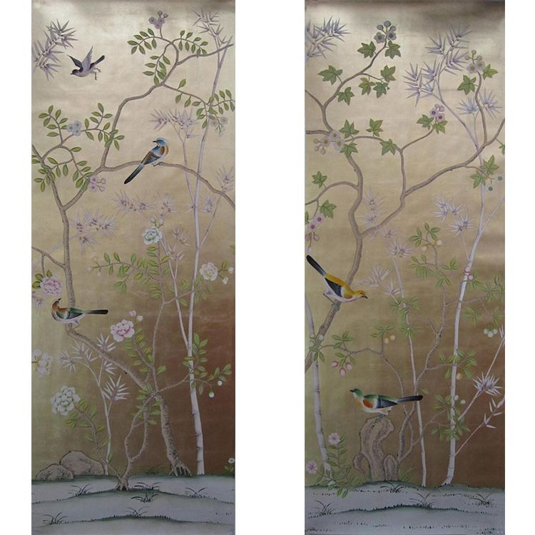 Chinoiserie Hand Painted Wallpaper On Gold Foil Metallic For Home Hotel
