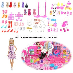 106PCS Puzzle girl boy play house toy Doll Accessories Children House Toys BABY CLOTH Dress Clothes For Barbie Doll