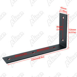 Alise Shelf Bracket Widen Corner Brace Joint Angle Bracket Wall Hanging 225mm*125mm, Stainless Steel Matte Black, JW2300B