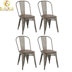 Antique Retro Industrial Cafeteria Replica Dining Stackable Outdoor Vintage Metal dining Chair