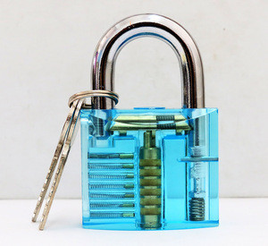Bullkeys locksmith supplies lake blue practice cutaway padlock with two keys for locksmith tools BK-1082
