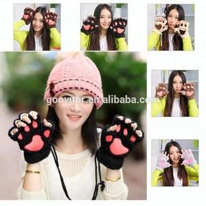 Cheap Winter Warm Half Finger Touchscreen Gloves Women Plush Animal Bear Paw Glove Lovely