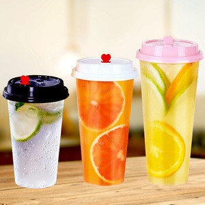 Customized 16 oz 500ml 24 oz 700ml  plastic PP cup bubble milk tea cup with lid for cold hot drinks