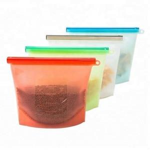 Food Grade Seal Reusable silicone food storage bag for Fruits Vegetables Meat Preservation