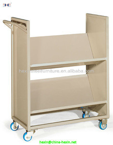 Hot sale School library furniture,Movable V-style book cart