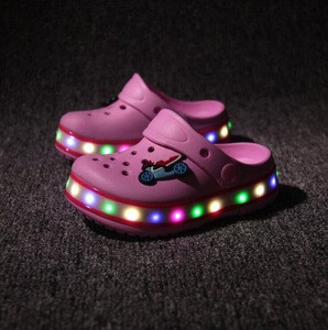 Kids LED clog sandals colorful light EVA clogs flashing garden shoes