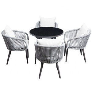 Luxury Garden Patio Furniture Aluminum Rope Cafe Outdoor Dining Table Set