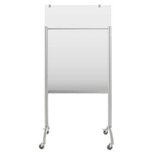 """Mobile Glass Easel with Padchart Hooks, 36"""" x 48"""" x 74"""", Silver"""