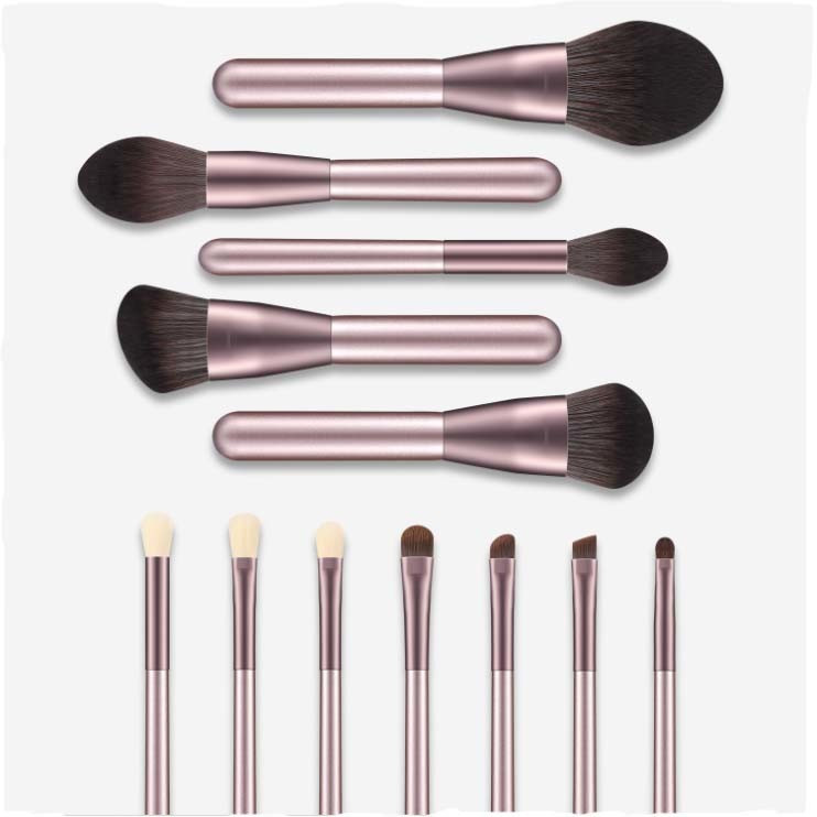 OEM Synthetic Hair 12PCS Makeup Brush Set with PU Bag