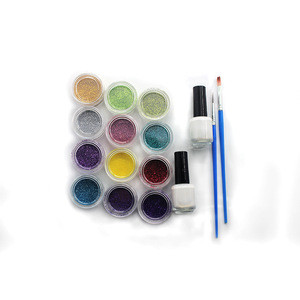 Party used tattoo body art kit with extra fine glitter colors, face paint stencils, super high quality tattoo glitter kit