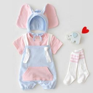 SADI newborn kid lovely hat headwear matching summer short sleeve toddlers baby set cute cotton baby boy romper set