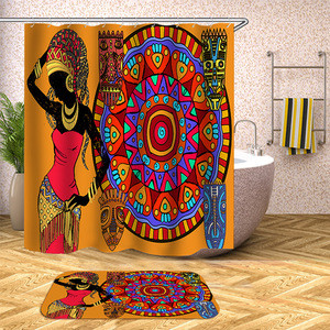 Shower Curtain 2020 Black Girl Waterproof Customized Accessory Style Fabric Room Modern Pattern