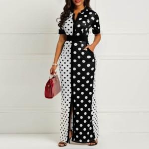 Summer Front Split Chiffon Maxi Shirt Slim White Black Polka Dot Lady Casual Dress