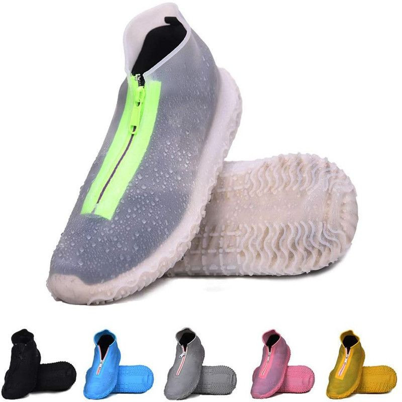 Reusable Silicone Waterproof Shoe Covers, Silicone Shoe Covers with Zipper No-Slip Silicone Rubber Shoe Cover