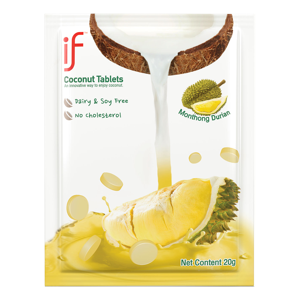 IF Coconut Milk Tablets Durian Flavor | Healthy Alternative Snacks | 24 Pack | .71 OZ