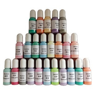 42 color gemstone epoxy resin color pigment dye DIY Glue liquid ink for epoxy resin 10ml each bottle liquid pigment  ink