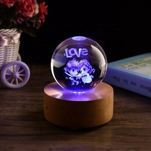 Crystal souvenir custom style 3d laser rose crystal ball music box