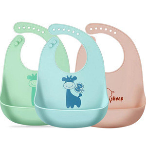 Customised personalized  funny cute waterproof silicone soft baby bib with pocket