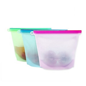 Food grade seal reusable silicone food storage bag for fruit vegetables meat