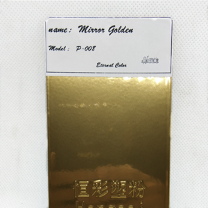 High gloss smooth mirror effect gold color chrome paint electrostatic powder coating