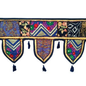 Indian ethnic window valance home decor vintage embroidered patchwork door hanging