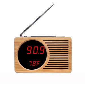 KH-WC013 Portable Desktop Bamboo / Wooden FM Radio With LED Clock