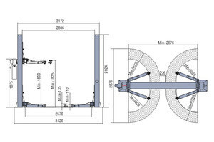 Manufacturing Auto 2 Post Car Lift Hydraulic Car Lift Bridge