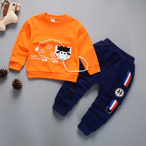 Newset design 95% cotton sheep design tops+pants boy clothing set With Bottom Price